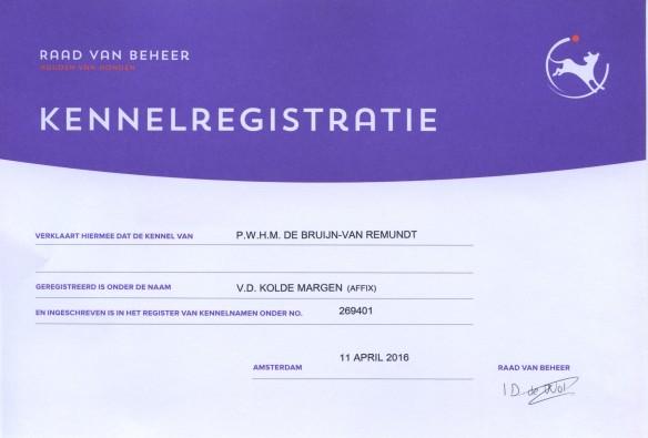 Kennel registratie v.d. Kolde Margen